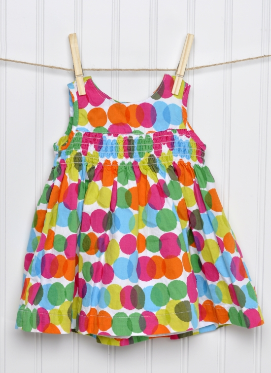 Summmertime Baby Girl Dress on a Clothesline.
