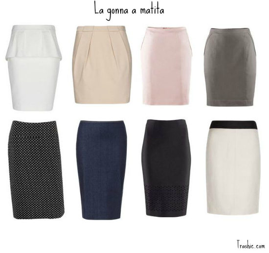 gonna-bianca-rosa-grigia-poi-bicolore-black&white-peplum-pencil-skirt-zara-mango-H&M
