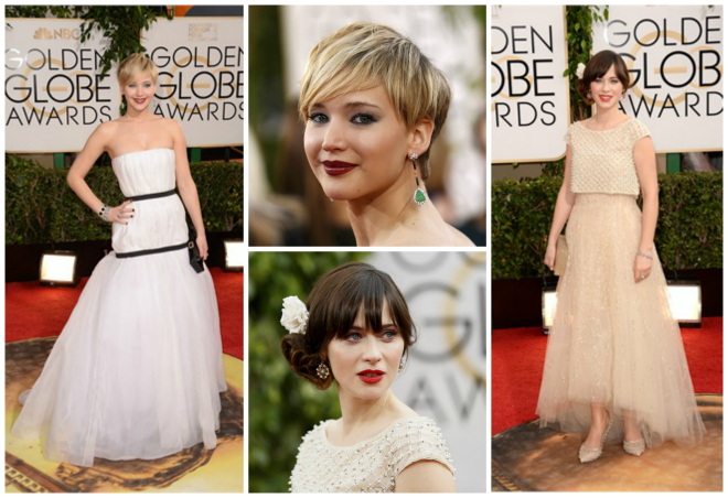 look-golden-globes-2014-jennifer-lawrence-zooey-deschanel