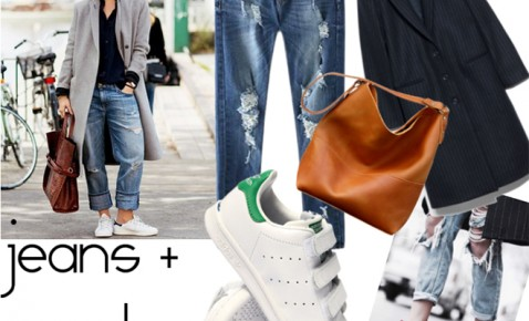 outfit jeans strappati e sneakers