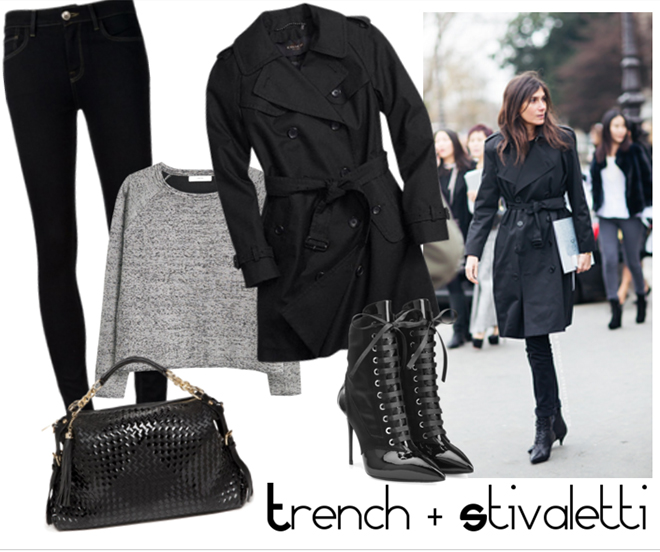 outfit trench total black