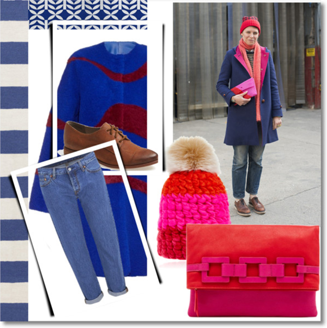cappotto blu e accessori color block